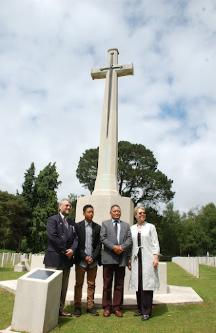 Penny Legg with contributors at the Royal Military Cemetery, Netley