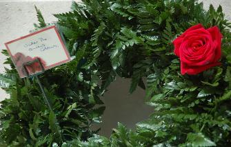 The wreath laid at the military cemetery, Netley